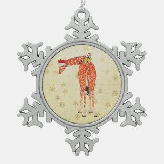 Festive Giraffe & Little Bird Ornament