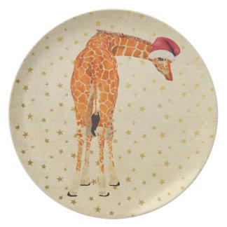 Festive Giraffe Starry Plate