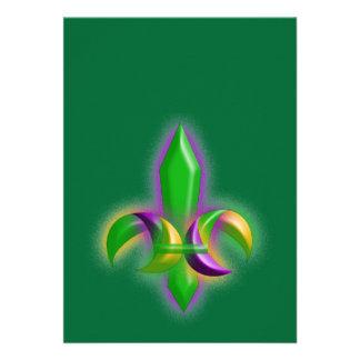 Festive Glow Fleur-de-lis Mardi Gras Invitations