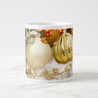 Festive Gold Christmas Bulbs Large Coffee Mug