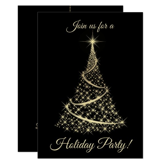 Festive Gold Christmas Tree Holiday Party Invite