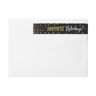 Festive Gold Dots Happiest Holidays Christmas Wrap Around Label