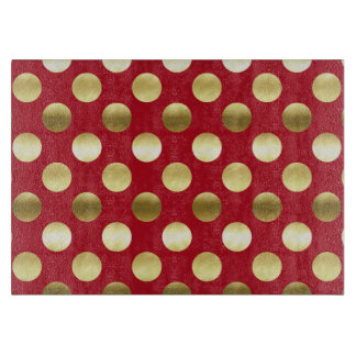 Festive Gold Foil Polka Dots Red Cutting Board