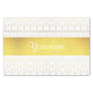 Festive Gold Swirls and Stars Tissue Paper