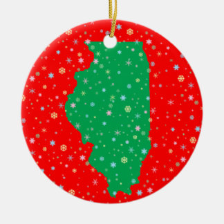 Festive Green and Red Map of Illinois Snowflakes Ceramic Ornament