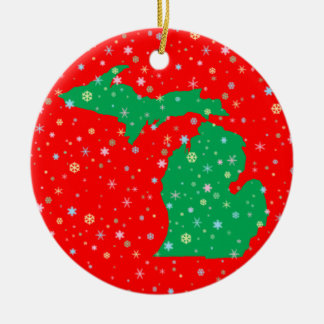 Festive Green and Red Map of Michigan Snowflakes Ceramic Ornament