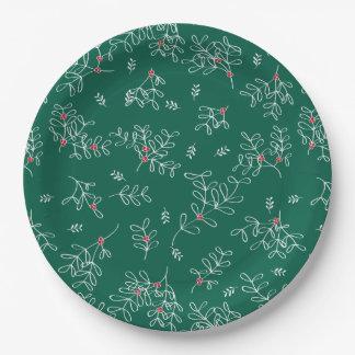 Festive Green Ditsy Mistletoe Paper Plates