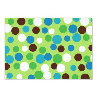 "Festive Green Dots Invitations 3.5"" X 5"" Invitation Card"