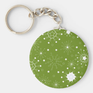 Festive Green Holiday Snowflakes Basic Round Button Key Ring
