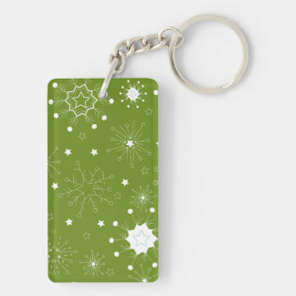 Festive Green Holiday Snowflakes Double-Sided Rectangular Acrylic Key Ring