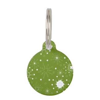 Festive Green Holiday Snowflakes Pet Name Tag