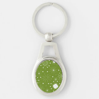 Festive Green Holiday Snowflakes Silver-Colored Oval Key Ring
