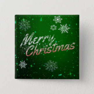 Festive Green Merry Christmas Square Button