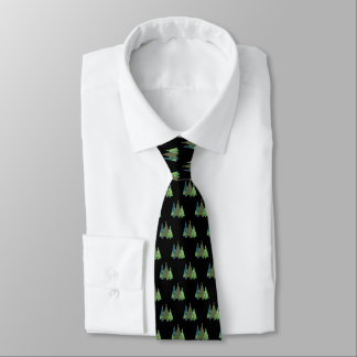 Festive Green Patterned Christmas trees on black Tie