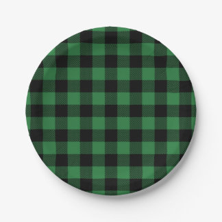 Festive Green Plaid Pattern Holiday Paper Plates