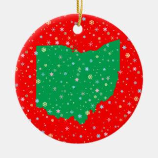 Festive Green Red Map of Ohio Snowflakes Ceramic Ornament