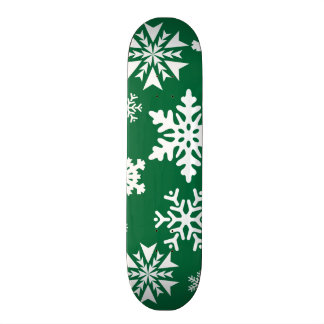 Festive Green Snowflakes Christmas Holiday Pattern Skateboard Decks