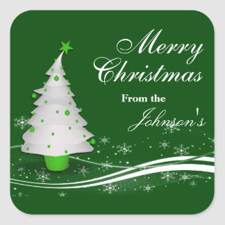 Festive Green & White Christmas Tree Gift Tags