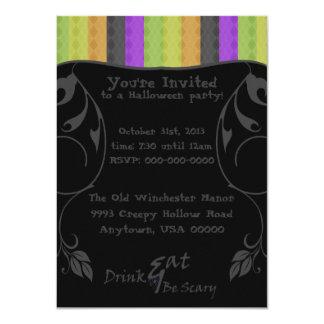 """Festive Halloween Argyle Custom 4.5"""" X 6.25"""" Invitation Card"""