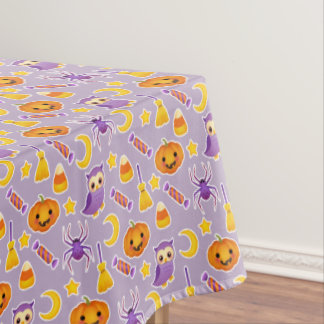 Festive Halloween Violet Pattern With Pumpkins Tablecloth