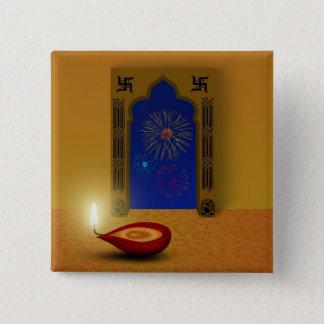 Festive Happy Diwali Fireworks - Button