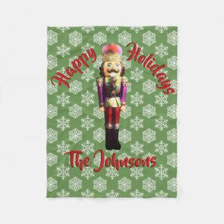 Festive Happy Holidays Nutcracker Fleece Blanket