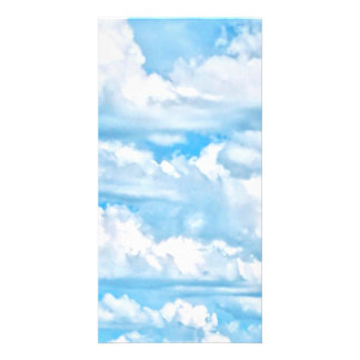 Festive Happy Sunny Clouds Background Customised Photo Card