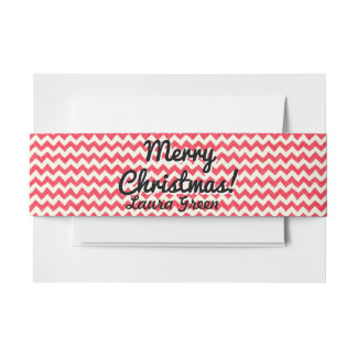Festive Holiday Belly Band with custom Name Invitation Belly Band