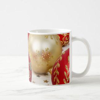Festive Holiday Christmas Ornaments Background Coffee Mug
