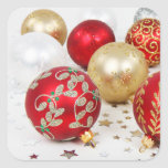 Festive Holiday Christmas Ornaments Background Square Stickers