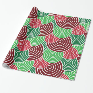 Festive Holiday Christmas Spiral Pattern Gift Wrap