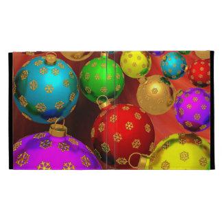 Festive Holiday Christmas Tree Ornaments Design iPad Folio Cover