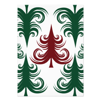Festive Holiday Christmas Tree Pattern Green Red Personalized Announcements