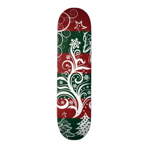 Festive Holiday Christmas Tree Red Green Striped Skateboard Decks