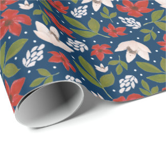 Festive Holiday Floral Wrapping Paper