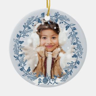 Festive Holiday Foliage Photo Ceramic Ornament