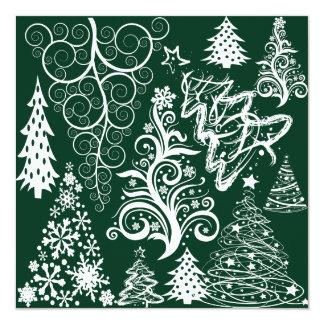 Festive Holiday Green Christmas Trees Xmas 13 Cm X 13 Cm Square Invitation Card