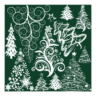 Festive Holiday Green Christmas Trees Xmas 13 Cm X 13 Cm Square Invitation Card