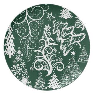 Festive Holiday Green Christmas Trees Xmas Party Plates