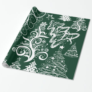 Festive Holiday Green Christmas Trees Xmas Wrapping Paper