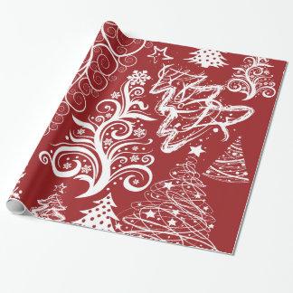 Festive Holiday Red Christmas Tree Xmas Pattern