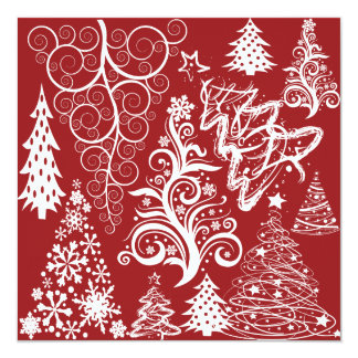 Festive Holiday Red Christmas Tree Xmas Pattern 13 Cm X 13 Cm Square Invitation Card