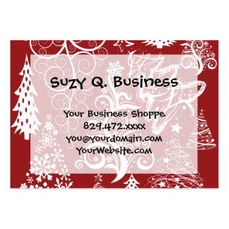 Festive Holiday Red Christmas Tree Xmas Pattern Large Business Cards (Pack Of 100)