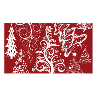 Festive Holiday Red Christmas Tree Xmas Pattern Business Cards