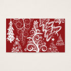 Festive Holiday Red Christmas Tree Xmas Pattern Business Card