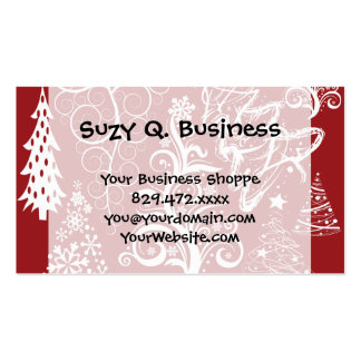 Festive Holiday Red Christmas Tree Xmas Pattern Double-Sided Standard Business Cards (Pack Of 100)