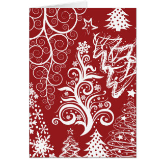 Festive Holiday Red Christmas Tree Xmas Pattern Greeting Card