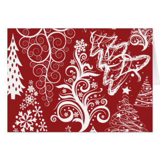 Festive Holiday Red Christmas Tree Xmas Pattern Stationery Note Card