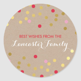 FESTIVE HOLIDAY SEAL confetti pattern gold kraft Round Sticker