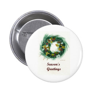 Festive Holiday Wreath Pinback Button